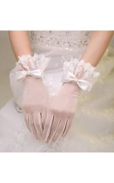 Korean Bow Elastic Short Lace Gloves