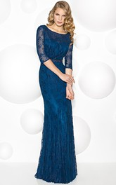 Scoop-Neckline Illusion-Sleeve Sheath Mother Of The Bride