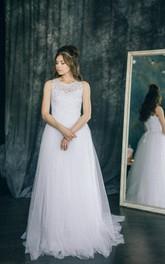 Tulle Illusion Satin Sleeve Sleeveless Lace Dress