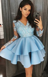 Long Sleeve A-line Short Mini V-neck Beading Lace Ruffles Tiers Satin Lace Homecoming Dress