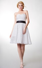 Sweetheart Criss cross Ruched short A-line Bridesmaid Dress