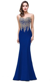 Appliqued Lace Sleeveless Mermaid Satin Zipper Dress
