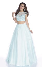 Crop-Top Lace-Bodice Featuring Rhinestones A-Line Cap-Sleeve Formal Tulle Dress