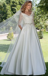A-line Half Sleeve Satin Wedding Dress With Jeweled waist