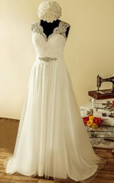 Satin Jewel Sequined Lace Tulle Bridal Dress