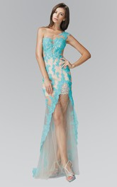 Column Jeweled Appliqued Long One-Shoulder Tulle Sleeveless Illusion Dress