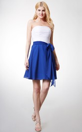 A-Line Backless Satin Sash Short Strapless Chiffon Dress