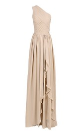 Chiffon Asymmetrical Hem Ruched Single-Shoulder Gown
