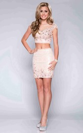 V-Back Sequined Cap-Sleeve 2-Piece Lace Column Formal Dress