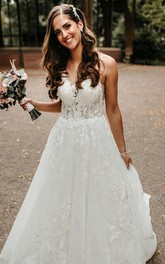 Bohemian Sleeveless Lace A Line V-neck Floor-length Court Train Wedding Dress with Appliques