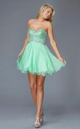 A-Line Jeweled Mini Sweetheart Sleeveless Strapless Backless Dress