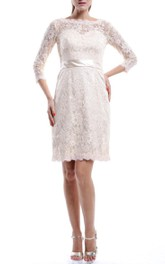 Bateau Lace 3-4-sleeve Pencil short Wedding Dress With Zipper
