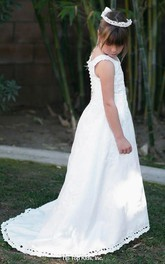 Satin Long Train Flower Jeweled Embroidered Flower Girl Dress