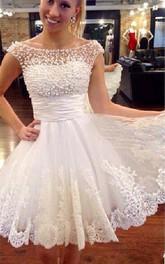 Bateau Lace Tulle Cap Short Sleeve Wedding Dress