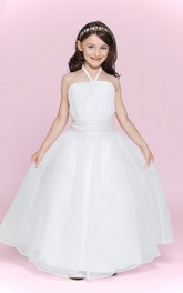Princess Jewel Waist Organza High-Neckline Flower Girl Dress