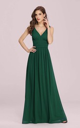 Sexy V-neck Chiffon A Line Sleeveless Prom Dress With Ruffles