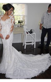 Illusion Long Sleeve Lace Mermaid Wedding Dress With Chapel Train