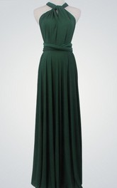 Sleeveless Pleated Floor-Length Long Jersey Dress