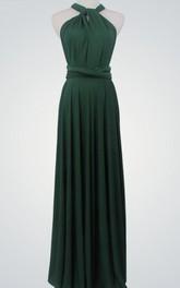 Sleeveless Pleated Floor-Length Long Jersey Dress