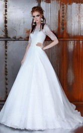 A-Line Illusion Back Lace Ball-Gown Princess Half-Sleeve Dress