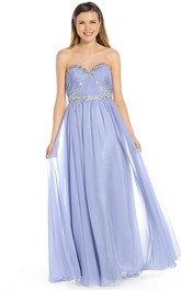 Sweetheart Chiffon Ruched Dress With Beading And Pleats