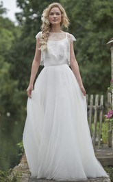 rustic Bateau Cap-sleeve Tulle Lace Wedding Dress With Illusion