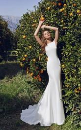 Column Crystal Long Bateau-Neck Dress