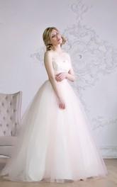 Sleeveless Satin Sash Floor-Length A-Line Organza Gown