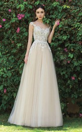 Elegant Tulle A-line Sleeveless Floor length Wedding Dress with Applique