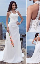 Halter Chiffon Column Sheath Wedding Long-Train Dress