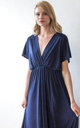 Plunged Short Sleeve Ruched long Dress With Low-V Back