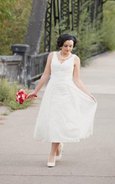 V-neck Sleeveless Ankle-length Lace Wedding Dress With Pleats