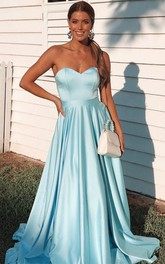 Strapless Sweetheart Satin Sweep Train A Line Evening Dress with Ruffles