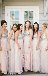 Floor-length Sweetheart Zipper Chiffon Sequins Dress