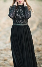 Chiffon Layers Long-Sleeve A-Line Lace Gown