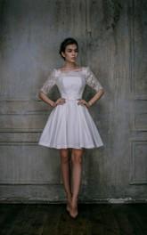 Bateau Illusion Lace Half Sleeve Satin A-line short Wedding Dress With Keyhole