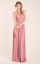 Haltered Chiffon Sleeveless Dress With Pleats And back bow
