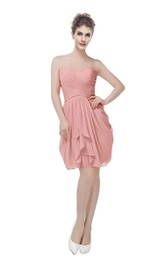Chiffon Criss-Cross Ruched Short Sweetheart Gown