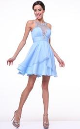 A-Line Ruching Jeweled Mini Scoop-Neck Chiffon Sleeveless Deep-V-Back Dress