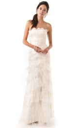Strapless Sheath Tulle Tiered Long Wedding Dress  With Appliques