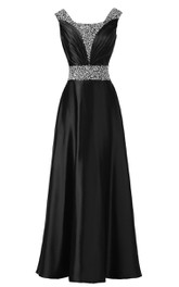 Satin Rhinestone Belt Trim Pleated Sleeveless Dress