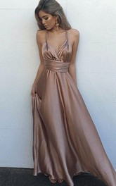 Spaghetti Satin Sleeveless Floor-length Pleats Ruching Dress