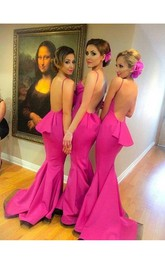 Backless Ruffle Brush Train Fuchsia Gorgeous Formal Dress