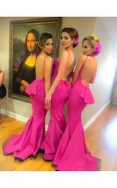 Backless Ruffle Brush Train Fuchsia Gorgeous Formal Dress