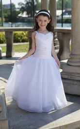 Criss Cross Top Princess Drop-Waist Flower Girl Dress