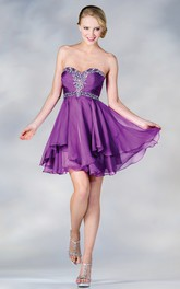 A-Line Chiffon Draping Jeweled Short Mini Strapless Sweetheart Sleeveless Dress