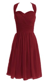 Strapped Chiffon Criss cross Ruched short Bridesmaid Dress With bow