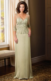 Appliqued V-Back Long 3-4-Sleeved Mother Of The Bride