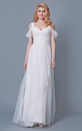 Empire-Waist Draping Tulle Ruched A-Line Floor-Length Dress