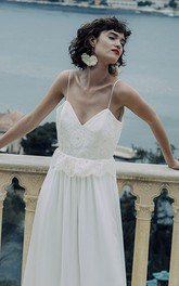 Simple Sheath Chiffon Spaghetti Deep-V Back Wedding Dress